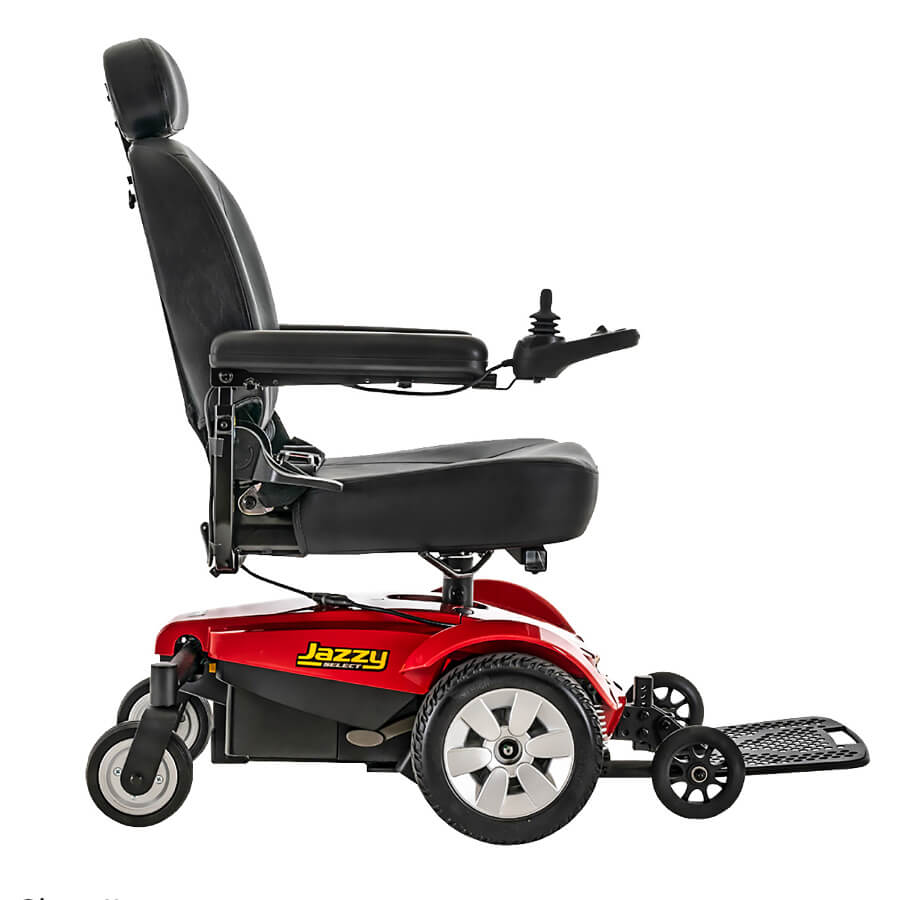 Jazzy Select powerchair in red, right profile