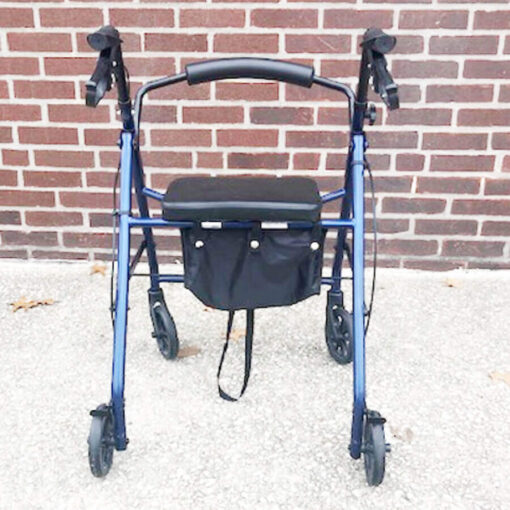 Drive Medical foldable rollator - blue - back view