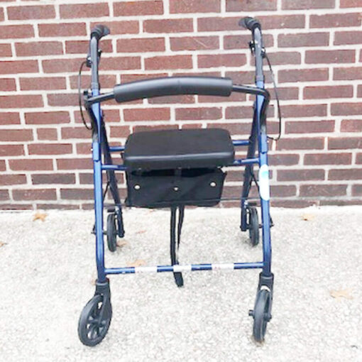 Drive Medical foldable rollator - blue - front view