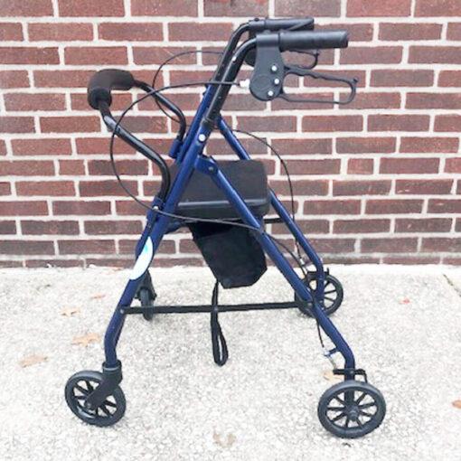Drive Medical foldable rollator - blue - left profile
