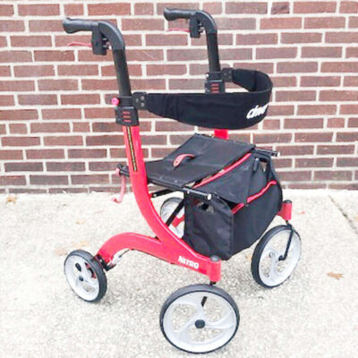 Drive Nitro foldable rollator - red - angled left