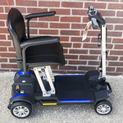 Golden Buzzaround CarryOn folding four wheel mobility scooter with armrests - blue - right side view