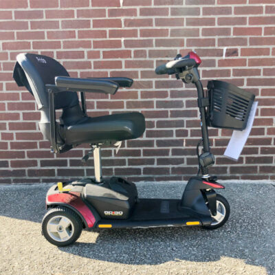 Pride GoGo Elite Traveller three wheel mobility scooter - red - right side view