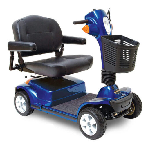 Pride Maxima four wheel mobility scooter in blue, angled view