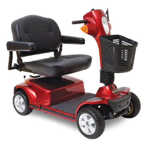 Pride Maxima four wheel mobility scooter in red, angled view