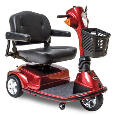 Pride Maxima three wheel mobility scooter with power elevated seat in red, angled view
