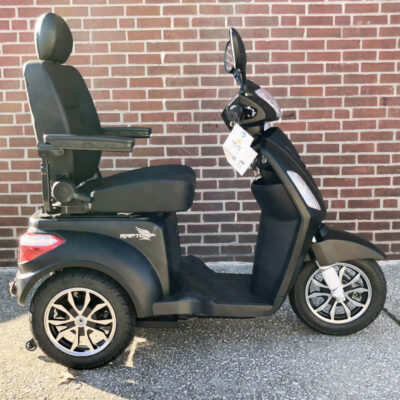 Pride Raptor three wheel mobility scooter - brand new - black - right side view