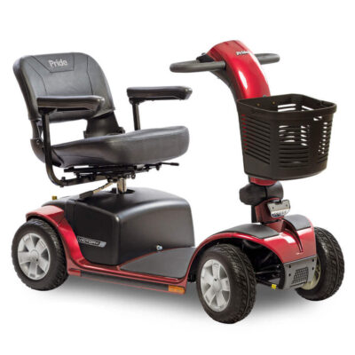 Pride Victory 10 four wheel mobility scooter in red, angled right