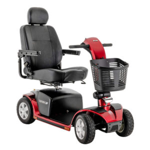 Pride Victory 10 four wheel mobility scooter in red with high back seat, angled right