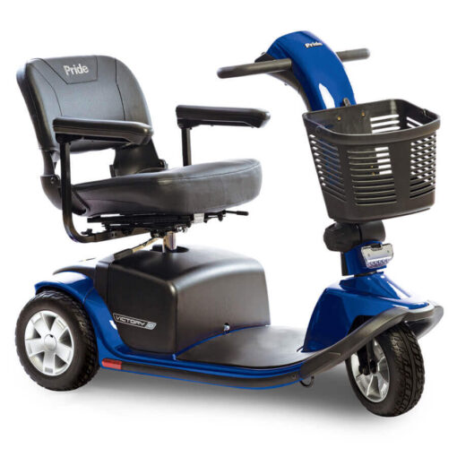 Pride Victory 10 three wheel mobility scooter in blue, angled right