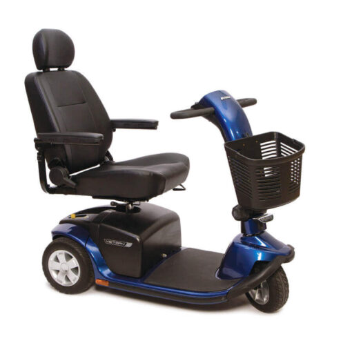Pride Victory 10 three wheel mobility scooter in blue with high back seat, angled right