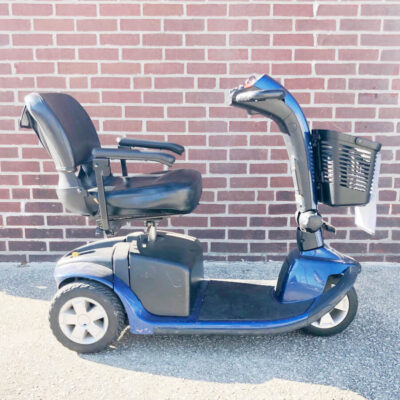 Pride Victory 10 three wheel mobility scooter - blue - right side view