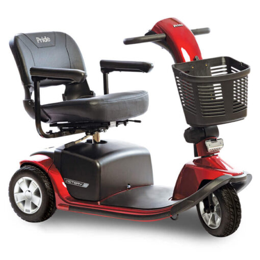 Pride Victory 10 three wheel mobility scooter in red, angled right