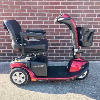 Pride Victory 10 three wheel mobility scooter in red, right side view