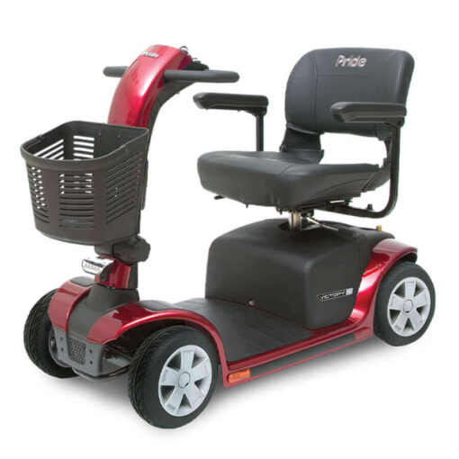 Pride Victory 9 four wheel mobility scooter in red, angled left