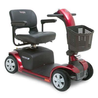 Pride Victory 9 four wheel mobility scooter in red, angled right