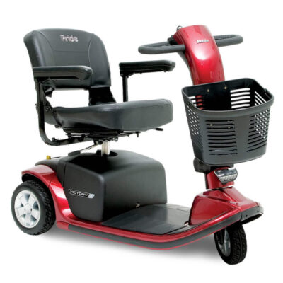 Pride Victory 9 three wheel mobility scooter in red, angled right