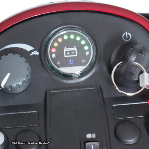 Pride Victory 9 three wheel mobility scooter in red, tiller readout display