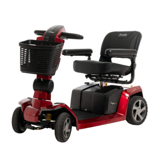 Pride Zero Turn 10 four wheel mobility scooter in red, angled left