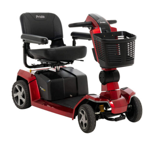 Pride Zero Turn 10 four wheel mobility scooter in red, angled right