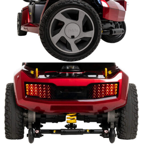 Pride Zero Turn 10 four wheel mobility scooter in red, close up of iTurn and rear CTS suspension