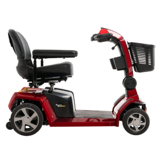 Pride Zero Turn 10 four wheel mobility scooter in red, right side view