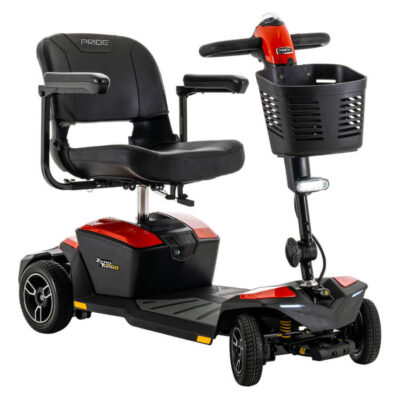 Pride Zero Turn 8 four wheel mobility scooter in red, angled right