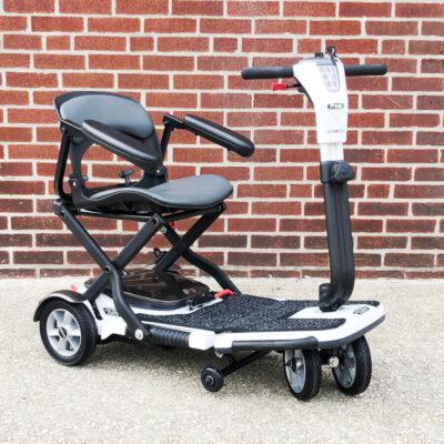 Pride GoGo Folding four wheeled mobility scooter - white - three quarter view