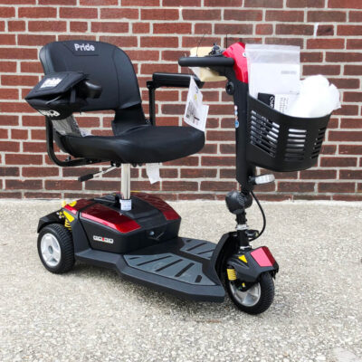 Pride GoGo LX with CTS suspension three wheeled mobility scooter - red - three quarter view