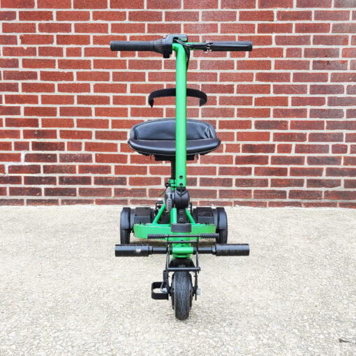 Pride iRide mobility scooter in lime green - front view