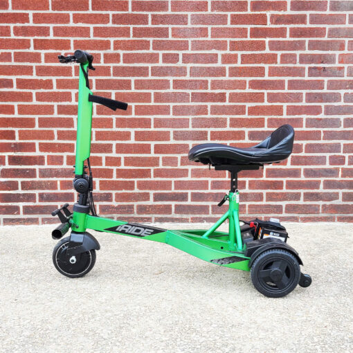 Pride iRide mobility scooter in lime green - left view