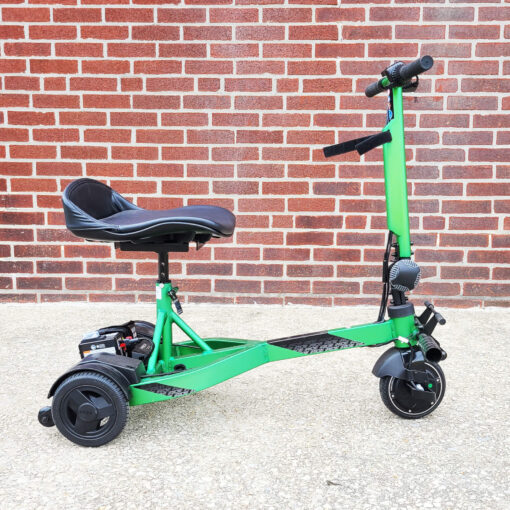 Pride iRide mobility scooter in lime green - right view