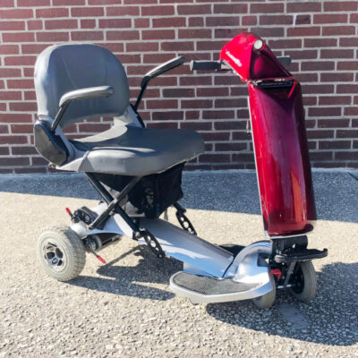 Rascal AutoGo Vision Folding Mobility Scooter - Red - three quarter view