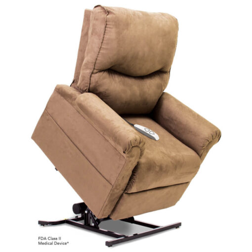 Viva Lift power lift recliner - Essential Collection - LC-105 - Micro-Suede - Sandal - Lifted position