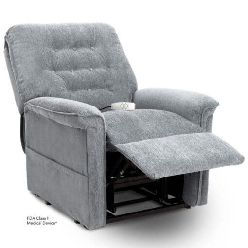 Pride power lift recliner - Heritage Collection – Crypton Aria Cool Grey - Reading position.