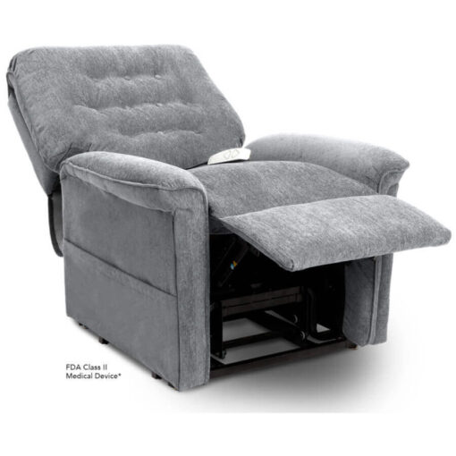 Pride power lift recliner - Heritage Collection – Crypton Aria Cool Grey - Reclining position.
