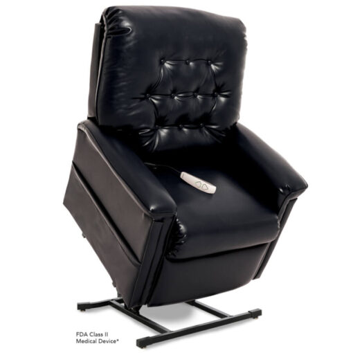 Pride power lift recliner - Heritage Collection – Lexis Sta-Kleen Black - Lifted position.