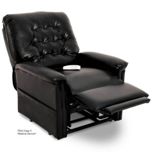 Pride power lift recliner - Heritage Collection – Lexis Sta-Kleen Black - Reading position.