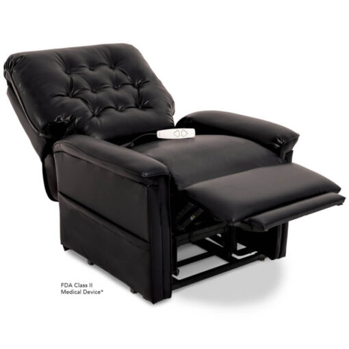 Pride power lift recliner - Heritage Collection – Lexis Sta-Kleen Black - Reclining position.