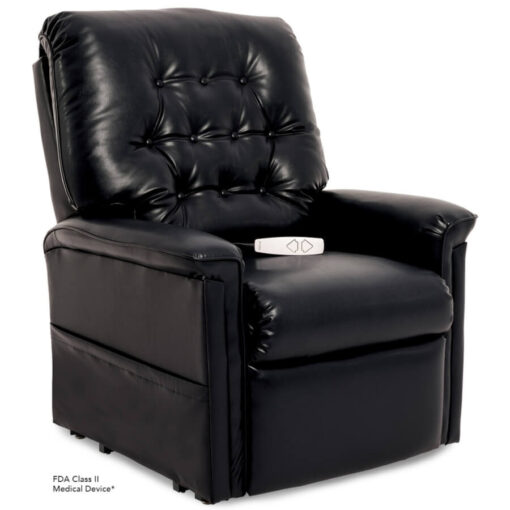 Pride power lift recliner - Heritage Collection – Lexis Sta-Kleen Black - Seated position.