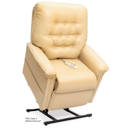Pride power lift recliner - Heritage Collection – UltaLeather Buff - Lifted position.