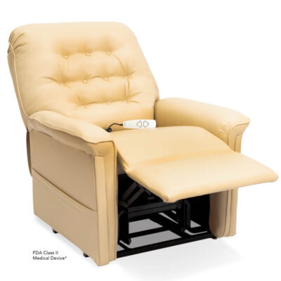 Pride power lift recliner - Heritage Collection – UltaLeather Buff - Reading position.