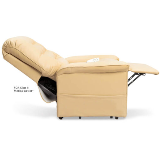 Pride power lift recliner - Heritage Collection – UltaLeather Buff - Reclined position.