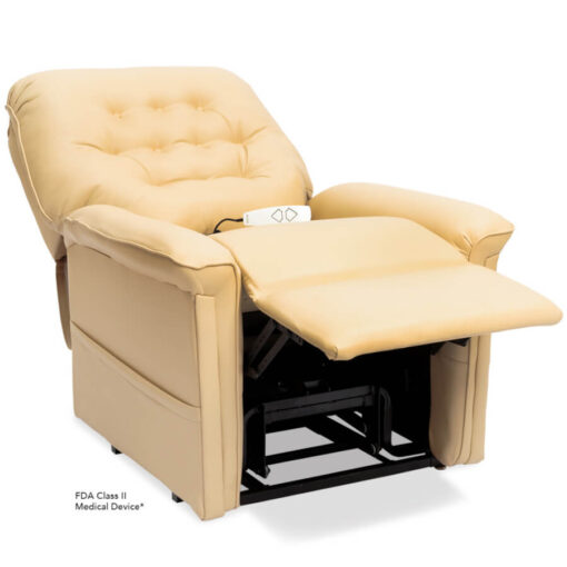 Pride power lift recliner - Heritage Collection – UltaLeather Buff - Reclining position.