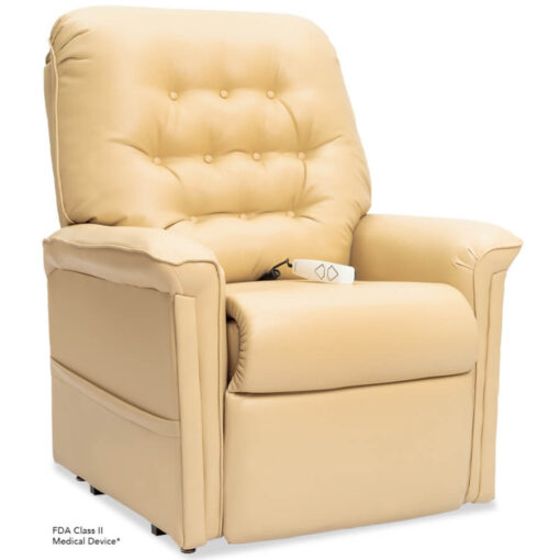 Pride power lift recliner - Heritage Collection – UltaLeather Buff - Seated position.