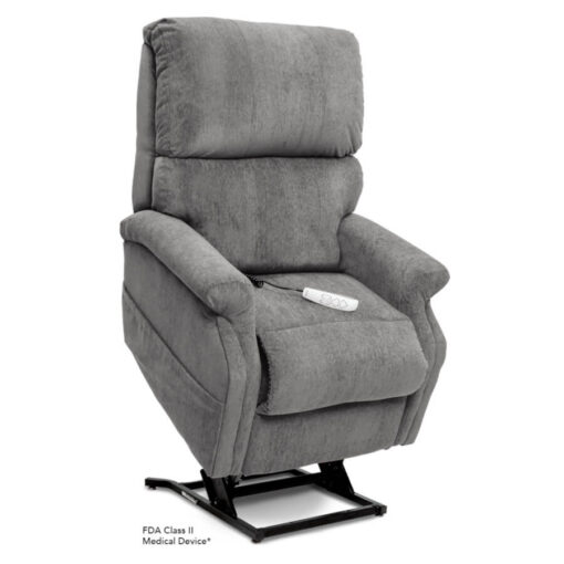 Pride power lift recliner - Infinity Collection – Crypton Aria Cool Grey - Lifted position.