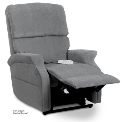 Pride power lift recliner - Infinity Collection – Crypton Aria Cool Grey - Reading position.