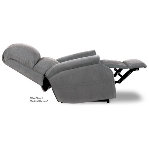Pride power lift recliner - Infinity Collection – Crypton Aria Cool Grey - Reclined position.