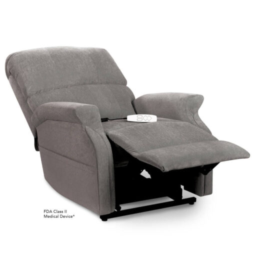 Pride power lift recliner - Infinity Collection – Crypton Aria Cool Grey - Reclining position.