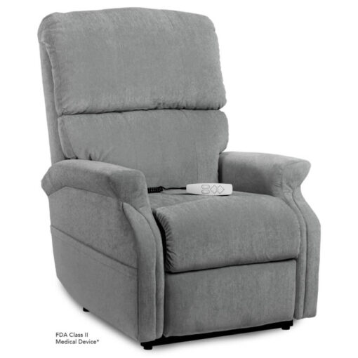 Pride power lift recliner - Infinity Collection – Crypton Aria Cool Grey - Seated position.
